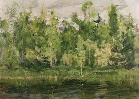 Лесная заводь (Н.М. Ромадин, 1960-е г.)