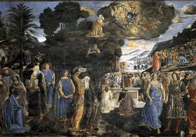 Дарование заповедей и золотой телец (К. Росселли)