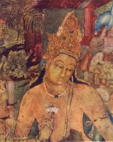 Будда (стенная роспись пещерного храма в Аджанте)